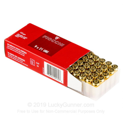 Large image of Cheap 9x21mm IMI Ammo For Sale - 123 gr FMJ - Fiocchi Ammunition Online - 50 Rounds