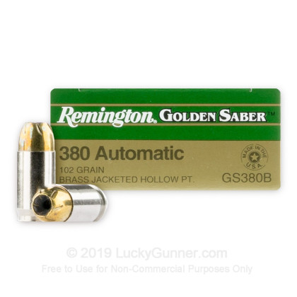 380 Auto - 102 Grain JHP - Remington Golden Saber - 25 Rounds