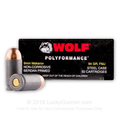 Large image of Cheap 9mm Makarov Ammo For Sale - 94 gr FMJ - Wolf WPA Polyformance 9mm Makarov Ammunition In Stock - 50 Rounds
