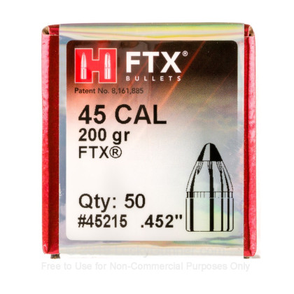 "Large image of Bulk 460 S&W Magnum (.452"") Bullets for Sale - 200 Grain FTX Bullets in Stock by Hornady - 50"