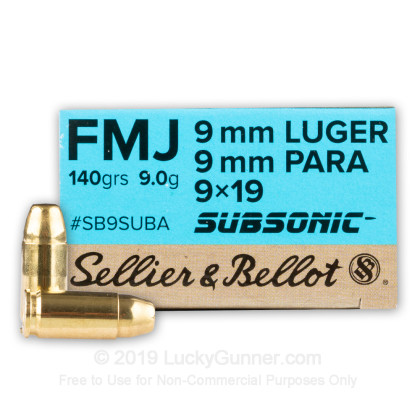 9mm - 140 Grain FMJ Subsonic - Sellier & Bellot - 50 Rounds