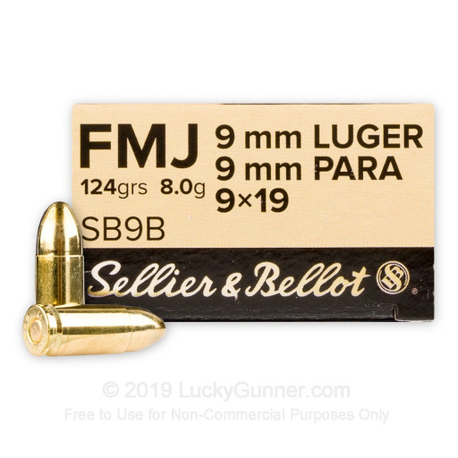 9mm - 124 gr FMJ - Sellier & Bellot - 1000 Rounds