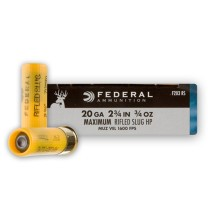 "20 ga Ammo For Sale - 2-3/4"" HP Rifled Slug Ammunition by Federal Power Shok"