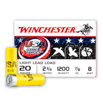 """Cheap 20 Gauge Ammo For Sale - 2-3/4"""" 7/8oz. #8 Shot Ammunition in Stock by Winchester USA Game & Target - 25 Rounds"""