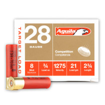 """Cheap 28 Gauge Ammo For Sale - 2-3/4"""" 3/4oz. #8 Shot Ammunition in Stock by Aguila - 25 Rounds"""