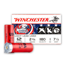 """Cheap 12 Gauge Ammo For Sale - 2-3/4"""" 1oz. #7.5 Shot Ammunition in Stock by Winchester USA Game & Target - 25 Rounds"""