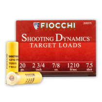 "Cheap 20 Gauge Ammo For Sale - 2-3/4"" 7/8oz. #7.5 Shot Ammunition in Stock by Fiocchi - 25 Rounds"