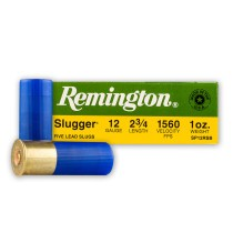 "Cheap 12 Gauge Ammo For Sale – 2-3/4"" 1 oz. Rifled Slug Ammunition in Stock by Remington Slugger- 5 Rounds"