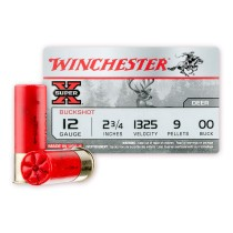 "Cheap 12 Gauge Ammo - 2-3/4"" - 00 Buck - Game Shot Shells - Winchester Super-X - 5 Rounds"