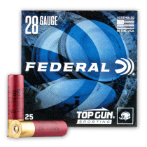 """Cheap 28 Gauge Ammo For Sale - 2-3/4"""" 3/4oz. #8 Shot Ammunition in Stock by Federal Top Gun Sporting - 25 Rounds"""