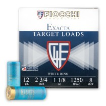 "Cheap 12 ga Target Shells For Sale - 2-3/4"" 1 1/8 oz #8 White Rhino Target Shell Ammunition by Fiocchi - 25 Rounds"