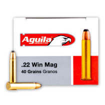 Cheap 22 WMR Ammo For Sale - 40 Grain JSP Ammunition in Stock by Aguila - 50 Rounds