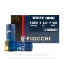 "Cheap 12 Gauge Ammo For Sale - 2-3/4"" 1-1/8 oz. #7.5 Shot Ammunition in Stock by Fiocchi White Rino] - 25 Rounds0"