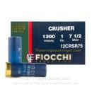 "Cheap 12 Gauge Ammo For Sale - 2-3/4"" 1 oz. #7.5 Shot Ammunition in Stock by Fiocchi Crusher - 25 Rounds"