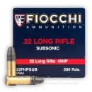 Cheap 22 LR Ammo For Sale - 40 gr HP - Fiocchi Subsonic Ammo In Stock - 50 Rounds