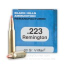 Cheap 223 Remington For Sale - 50 Grain V-Max Ammunition in Stock by Remanufactured Black Hills - 50 Rounds