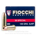 Cheap 38 Special Ammo For Sale - 148 Grain SJHP Ammunition in Stock by Fiocchi - 50 Rounds