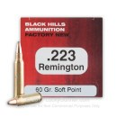 Premium 223 Rem Ammo For Sale - 60 Grain Soft Point Ammunition in Stock by Black Hills Ammunition - 50 Rounds