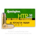 Premium 44 Mag Ammo For Sale - 240 Grain Soft Point Ammunition in Stock by Remington HTP - 500 Rounds