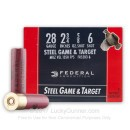 "Premium 28 Gauge Ammo For Sale - 2-3/4"" 5/8 oz. #6 Shot Ammunition in Stock by Federal Steel Game and Target - 25 Rounds"
