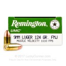 9mm Ammo For Sale - 124 gr MC - Remington UMC Ammunition In Stock - 50 Rounds