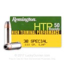 Cheap 38 Special Ammo For Sale - 110 Grain SJHP Ammunition in Stock by Remington HTP - 50 Rounds