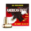 40 S&W Ammo - 180 gr FMJ - Federal American Eagle 40 cal Ammunition - 500 Rounds