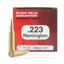 Premium 223 Rem Ammo For Sale - 75 Grain Match Hollow Point Ammunition in Stock by Black Hills Ammunition - 50 Rounds