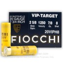 "Cheap 20 ga Shot Shells For Sale - 2-3/4"" 7/8 oz  #8 Shot by by Fiocchi - 25 Rounds"