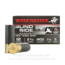 "Premium 12 Gauge Ammo For Sale - 2-3/4"" 1-1/4oz. #5 Steel Shot Ammunition in Stock by Winchester Blind Side - 25 Rounds"