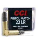 Premium 22 LR Ammo For Sale - 40 gr LRN Pistol Match - CCI Ammunition In Stock - 50 Rounds