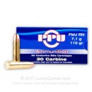 30 Carbine Ammo In Stock - 110 gr FMJ - Prvi Partizan Ammunition For Sale