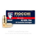 380 Auto Ammo In Stock - 95 gr FMJ - 380 ACP Ammunition by Fiocchi For Sale - 50 Rounds