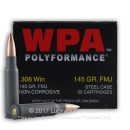 Cheap 308 Winchester 145 grain full metal jacket Wolf WPA Polyformance Ammo For Sale - 20 Rounds