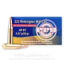 Cheap Match Grade 223 Rem Ammo For Sale - 69 Grain HPBT Ammunition In Stock by Prvi Partizan - 20 Rounds