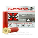 "Premium 12 Gauge Ammo For Sale - 3-1/2"" 1-3/8oz. #3 Steel Shot Ammunition in Stock by Winchester Super-X High Velocity - 25 Rounds"