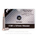 Cheap 8mm Mauser Ammo For Sale - 170 Grain FMJ Ammunition in Stock by PW Arms - 20 Rounds