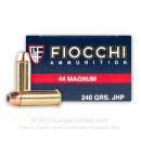 44 Magnum Ammo For Sale - 240 gr JHP Ammunition In Stock by Fiocchi