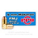 Bulk 9mm Makarov Ammo For Sale - 93 Grain FMJ Ammunition in Stock by Prvi Partizan - 1000 Rounds