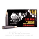 Cheap 223 Rem Ammo For Sale - 55 Grain Brass FMJ-BT Ammunition in Stock by Black Bear - 20 Rounds