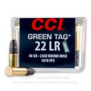 22 LR Ammo For Sale - 40 gr LRN Competition - CCI Green Tag Ammunition In Stock - 100 Rounds