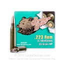 Cheap Brown Bear 223 Rem Ammo For Sale - 55 grain HP Ammunition In Stock - 500 Rounds
