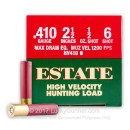 "Cheap .410 Bore Ammo For Sale - 2-1/2"" 1/2 oz. #6 Shot Ammunition in Stock by Estate High Velocity Hunting Load - 25 Rounds"