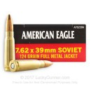Bulk Brass Cased 7.62x39 Ammo In Stock - 124 gr FMJ - 7.62x39 Ammunition by Federal For Sale - 500 Rounds
