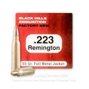 Premium 223 Rem Ammo For Sale - 55 Grain FMJ Ammunition in Stock by Black Hills Ammunition - 50 Rounds