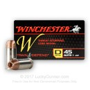Cheap 45 ACP Ammo For Sale - 230 Grain JHP Ammunition in Stock by Winchester W Train & Defend - 20 Rounds