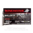 Premium 243 Ammo For Sale - 95 Grain Polymer Tip Ammunition in Stock by Winchester Ballistic SilverTip - 20 Rounds
