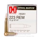 Cheap 223 Rem Ammo For Sale - 75 Grain BTHP Ammunition in Stock by Hornady Steel Match - 50 Rounds