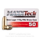 Cheap 9mm Ammo For Sale - 115 Grain FMJ Ammunition in Stock by MAXXTech Brass - 50 Rounds