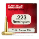 Premium 223 Rem Ammo For Sale - 55 Grain Barnes TSX Ammunition in Stock by Black Hills - 50 Rounds